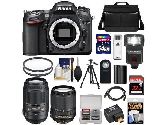 Nikon D7100 Digital SLR Camera with 18-140mm & 55-300mm VR Lenses, WU-1a, Bag & 32GB Card + 64GB Card + Battery + Flash + Filters ...