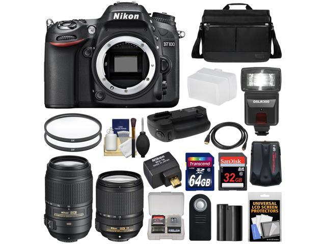 Nikon D7100 Digital SLR Camera with 18-140mm & 55-300mm VR Lenses, WU-1a, Bag & 32GB Card + 64GB Card + Battery & Grip + Flash ...