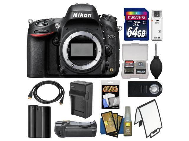 Nikon D610 Digital SLR Camera Body with 64GB Card + Grip + Battery & Charger + Diffuser + HDMI Cable + Remote Kit