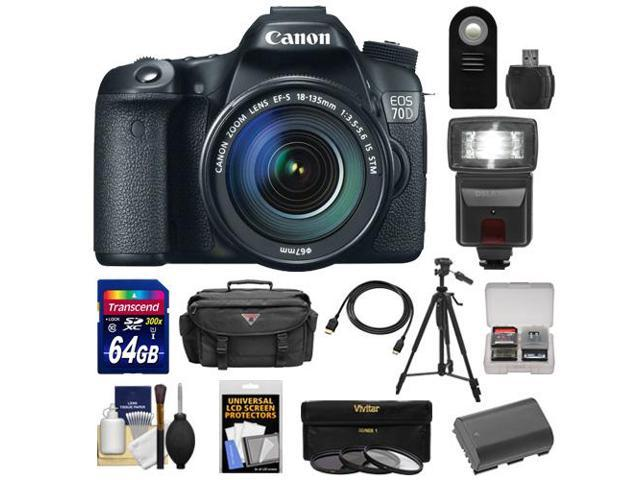 Canon EOS 70D Digital SLR Camera & EF-S 18-135mm IS STM Lens with 64GB Card + Battery + Case + 3 Filters + Flash + ...