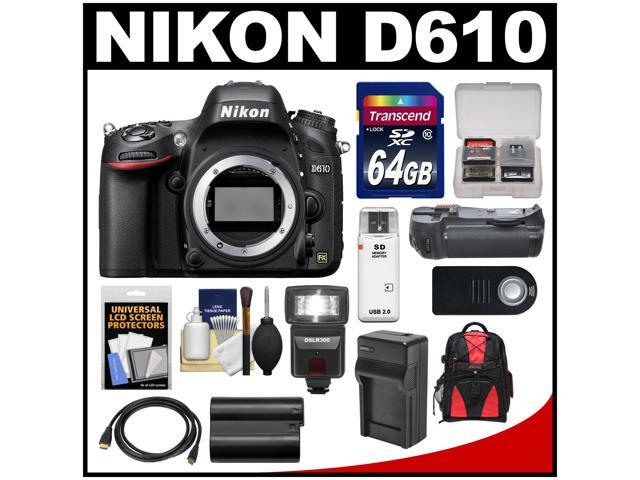 Nikon D610 Digital SLR Camera Body with 64GB Card + Backpack + Flash + Grip + Battery & Charger + HDMI Cable + Remote Kit ...
