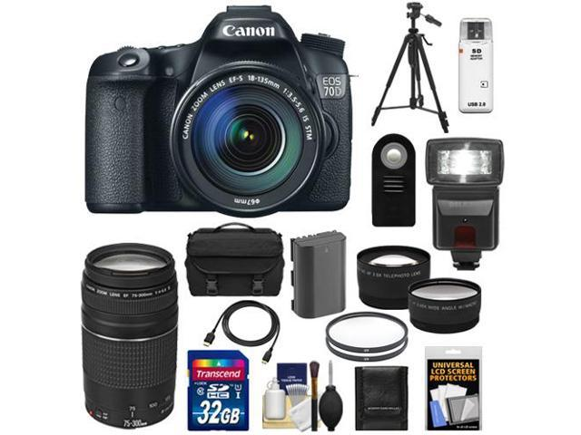 Canon EOS 70D Digital SLR Camera & EF-S 18-135mm IS STM Lens with 75-300mm III Lens + 32GB Card + Battery + Case + Tripod ...