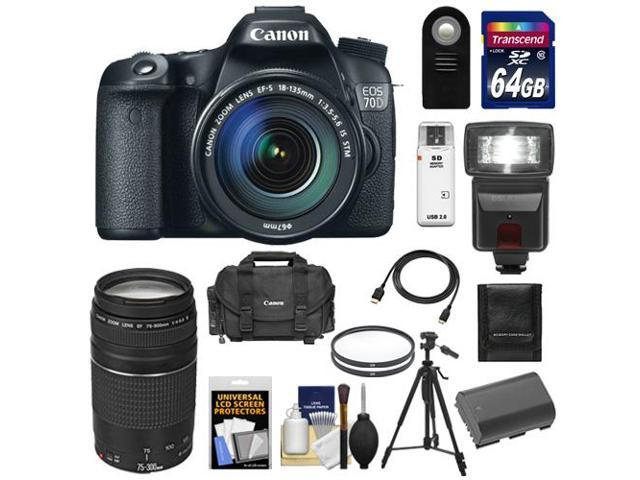 Canon EOS 70D Digital SLR Camera & EF-S 18-135mm IS STM Lens with 75-300mm III Lens + 64GB Card + Battery + Case + Filters ...