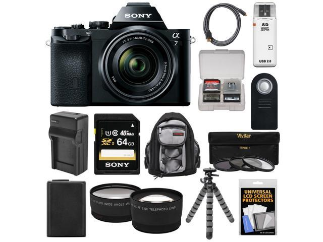 Sony Alpha A7 Digital Camera & 28-70mm FE OSS Lens (Black) with 64GB Card + Battery & Charger + Backpack + Flex Tripod + Tele/Wide ...