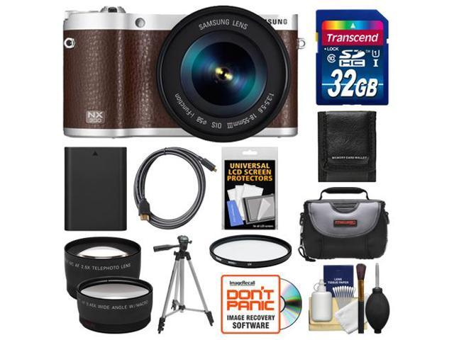 Samsung NX300 Smart Wi-Fi Digital Camera Body & 18-55mm Lens (Brown) with 32GB Card + Case + Battery + Tripod + HDMI Cable + Tele/Wide ...