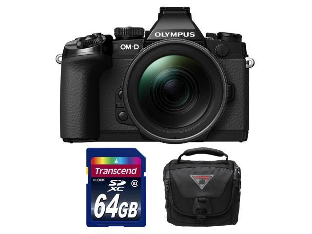 Olympus OM-D E-M1 Micro 4/3 Digital Camera with 12-40mm f/2.8 Lens (Black/Black) with 64GB Card + Case Kit