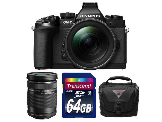 Olympus OM-D E-M1 Micro 4/3 Digital Camera with 12-40mm f/2.8 Lens (Black/Black) with 40-150mm Lens + 64GB Card + Case Kit
