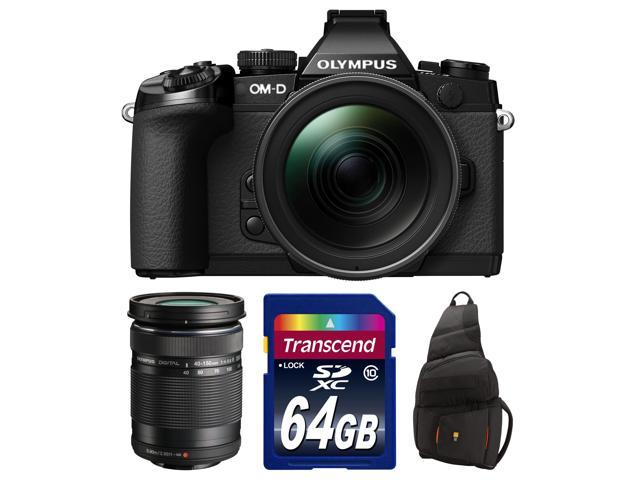 Olympus OM-D E-M1 Micro 4/3 Digital Camera with 12-40mm f/2.8 Lens (Black/Black) with 40-150mm Lens + 64GB Card + Sling Bag Kit