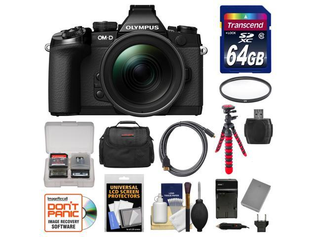 Olympus OM-D E-M1 Micro 4/3 Digital Camera with 12-40mm f/2.8 Lens (Black/Black) with 64GB Card + Case + Battery & Charger + Flex Tripod + ...