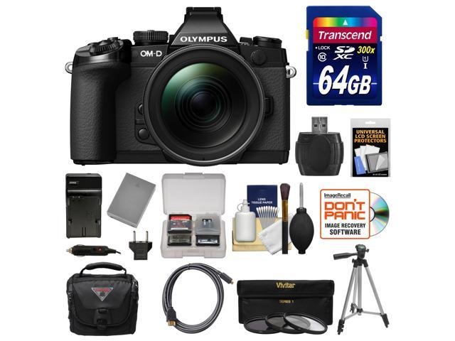Olympus OM-D E-M1 Micro 4/3 Digital Camera with 12-40mm f/2.8 Lens (Black/Black) with 64GB Card + Case + Battery & Charger + Tripod + 3 ...