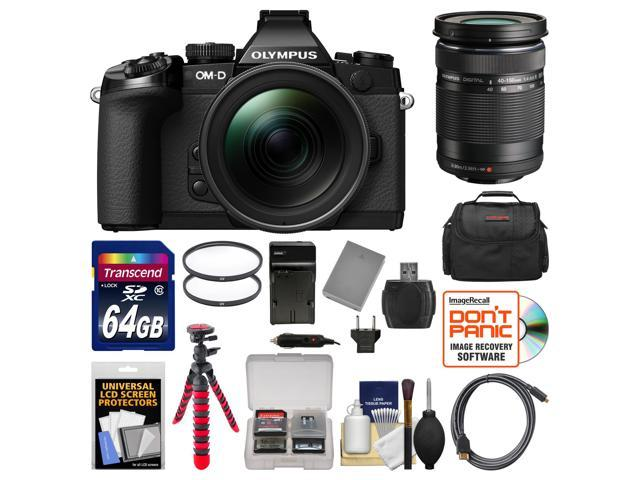 Olympus OM-D E-M1 Micro 4/3 Digital Camera with 12-40mm f/2.8 Lens (Black/Black) with 40-150mm Lens + 64GB Card + Case + Battery & Charger + ...