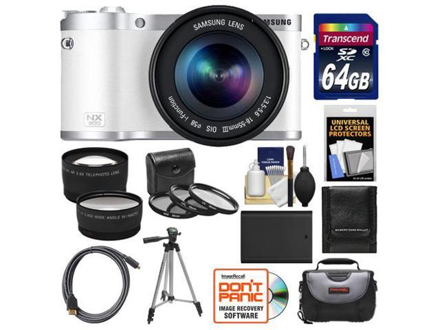 Samsung NX300 Smart Wi-Fi Digital Camera Body & 18-55mm Lens (White) with 64GB Card + Case + Battery + Tripod + HDMI Cable + Tele/Wide ...