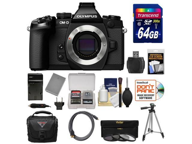 Olympus OM-D E-M1 Micro 4/3 Digital Camera Body (Black) with 64GB Card + Case + Battery & Charger + Tripod + HDMI Cable + 3 ...