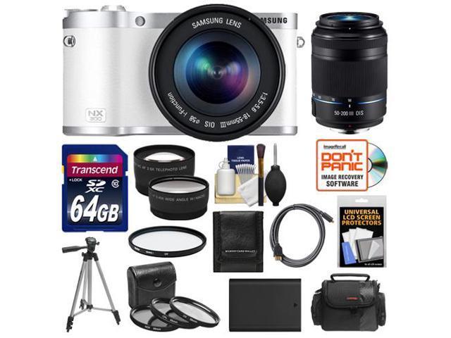 Samsung NX300 Smart Wi-Fi Digital Camera Body & 18-55mm Lens (White) with 50-200mm Lens + 64GB Card + Case + Battery + Tripod + HDMI ...