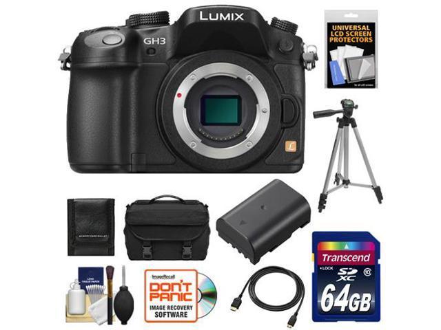 Panasonic Lumix DMC-GH3 Micro Four Thirds Digital Camera Body (Black) with 64GB Card + Battery + Case + Tripod + HDMI Cable + Accessory Kit ...