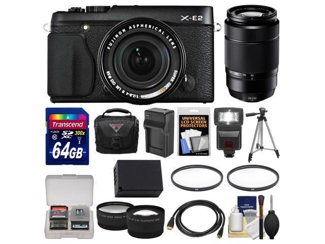 Fujifilm X-E2 Digital Camera & 18-55mm XF Lens (Black) with 50-230mm OIS Lens + 64GB Card + Case + Flash + Battery + Tripod + ...