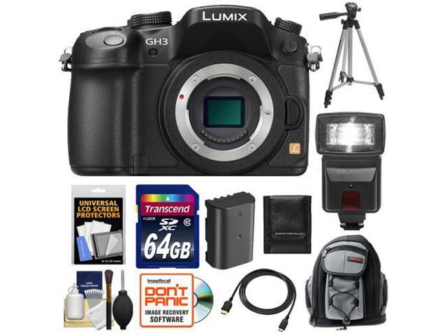 Panasonic Lumix DMC-GH3 Micro Four Thirds Digital Camera Body (Black) with 64GB Card + Battery + Backpack Case + Flash + Tripod + HDMI Cable ...