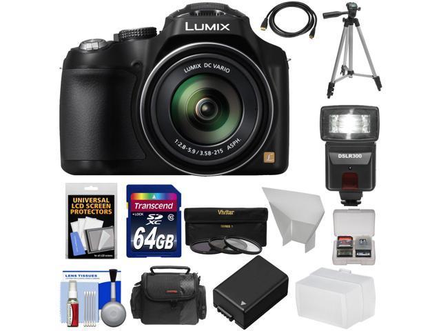 Panasonic Lumix DMC-FZ70 Digital Camera (Black) with 64GB Card + Battery + Case + Flash/Video Light + Diffuser + Tripod + Accessory Kit