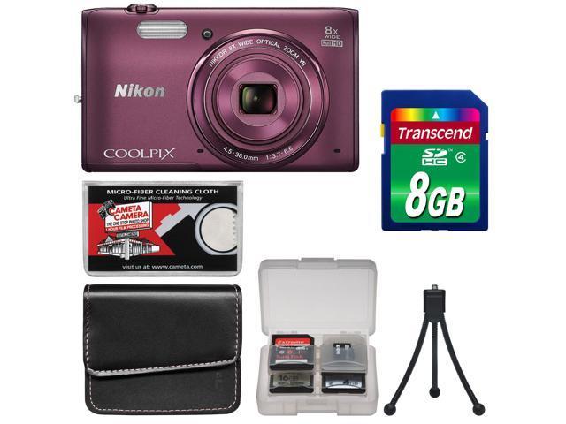 Nikon Coolpix S5300 Wi-Fi Digital Camera (Plum) - Factory Refurbished with 8GB Card + Case + Accessory Kit