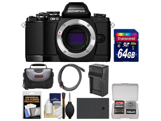 Olympus OM-D E-M10 Micro 4/3 Digital Camera Body (Black) with 64GB Card + Case + Battery & Charger + Kit