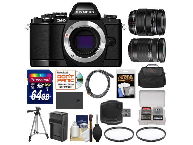 Olympus OM-D E-M10 Micro 4/3 Digital Camera Body (Black) with 12-40mm & 40-150mm ED Lenses + 64GB Card + Case + Battery + Tripod Kit ...