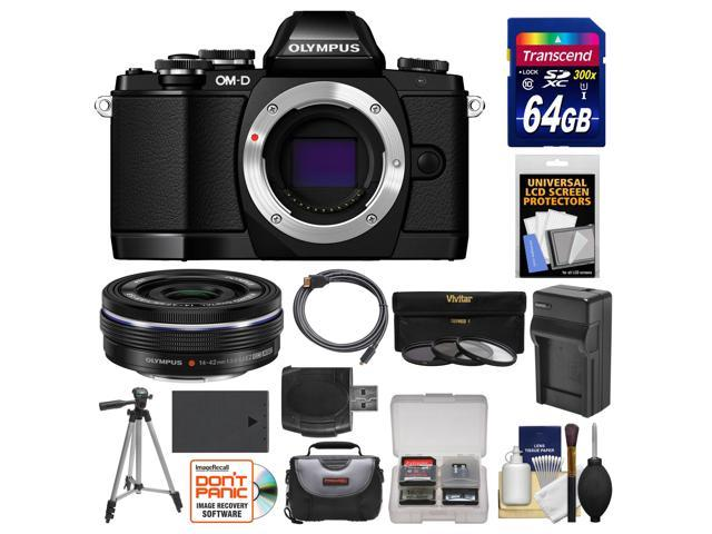 Olympus OM-D E-M10 Micro 4/3 Digital Camera Body (Black) with 14-42mm EZ Lens + 64GB Card + Case + Battery/Charger + Tripod + Kit