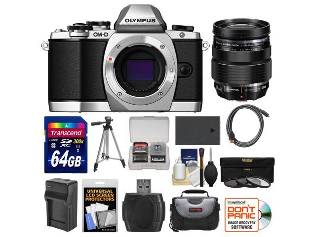Olympus OM-D E-M10 Micro 4/3 Digital Camera Body (Silver) with 12-40mm PRO ED Lens + 64GB Card + Case + Battery/Charger + Tripod + Kit ...