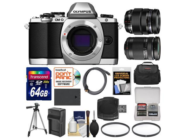 Olympus OM-D E-M10 Micro 4/3 Digital Camera Body (Silver) with 12-40mm & 40-150mm ED Lenses + 64GB Card + Case + Battery + Tripod Kit ...