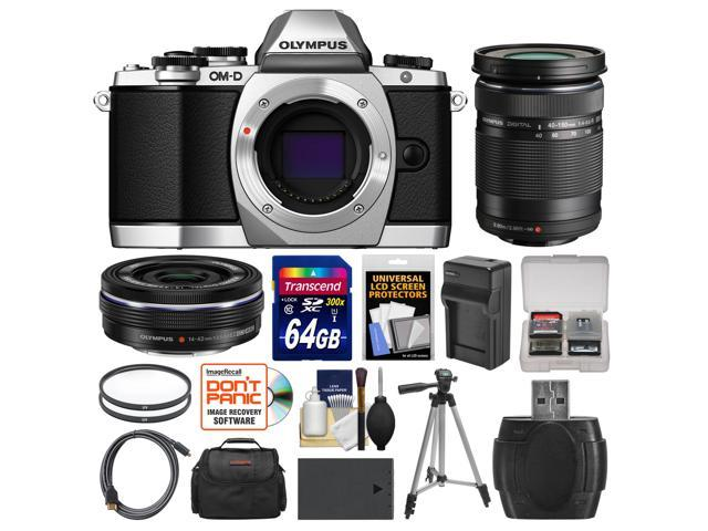 Olympus OM-D E-M10 Micro 4/3 Digital Camera Body (Silver) with 14-42mm EZ & 40-150mm ED Lenses + 64GB Card + Case + Battery/Charger + Tripod ...