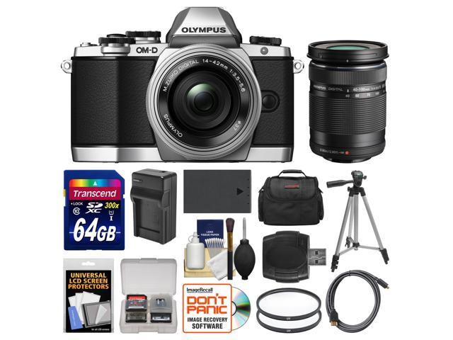 Olympus OM-D E-M10 Micro 4/3 Digital Camera & 14-42mm II R Lens (Silver/Black) with 40-150mm Lens + 64GB Card + Case + Battery/Charger + Tripod ...