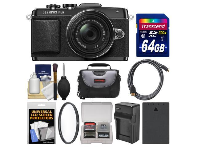 Olympus PEN E-PL7 Micro 4/3 Digital Camera & 14-42mm II R Lens (Black) with 64GB Card + Case + Battery & Charger + Filter + ...