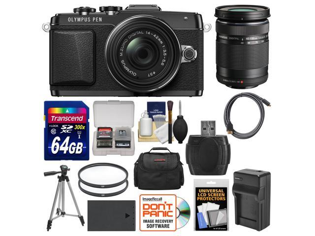 Olympus PEN E-PL7 Micro 4/3 Digital Camera & 14-42mm II R Lens (Black) with 40-150mm Lens + 64GB Card + Case + Battery & Charger ...