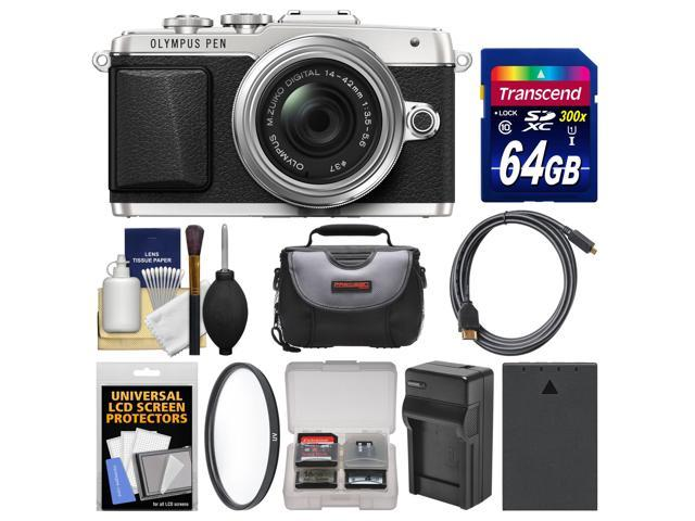 Olympus PEN E-PL7 Micro 4/3 Digital Camera & 14-42mm II R Lens (Silver) with 64GB Card + Case + Battery & Charger + Filter + ...