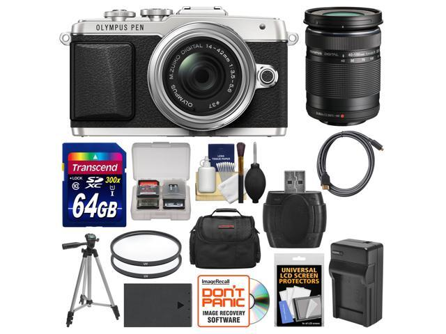 Olympus PEN E-PL7 Micro 4/3 Digital Camera & 14-42mm II R Lens (Silver) with 40-150mm Lens + 64GB Card + Case + Battery & Charger ...