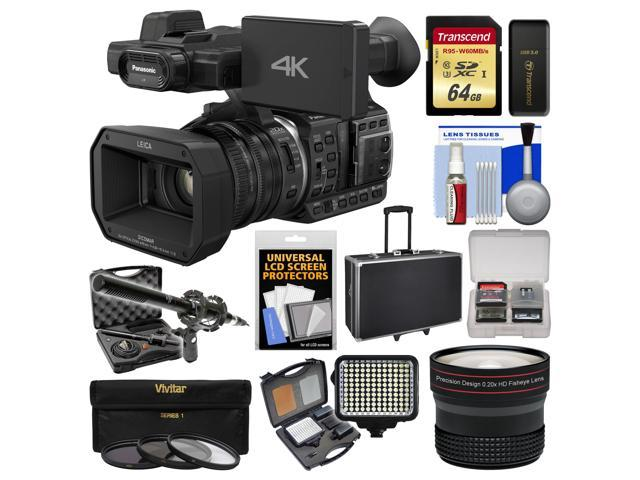 Panasonic HC-X1000 4K Ultra HD Wi-Fi Video Camera Camcorder with Fisheye Lens + 64GB Card + Case + LED Light Set + Microphone Set + ...