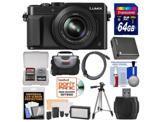 Panasonic Lumix DMC-LX100 4K Wi-Fi Digital Camera with 64GB Card + Case + Video Light & Flash Set + Battery + Tripod + Kit
