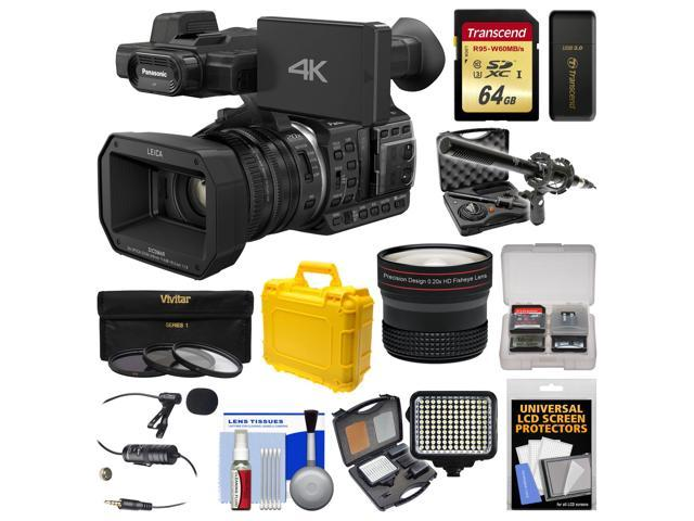 Panasonic HC-X1000 4K Ultra HD Wi-Fi Video Camera Camcorder with Fisheye Lens + 64GB Card + Waterproof Case + LED Light + Microphone Set + ...