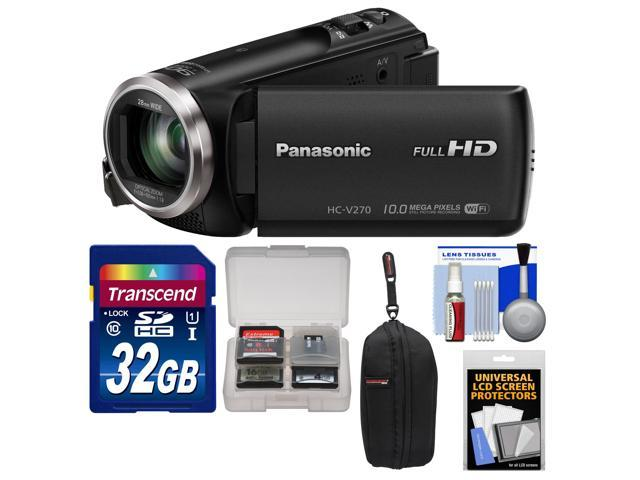 Panasonic HC-V270 HD Wi-Fi Video Camera Camcorder with 32GB Card + Case + Accessory Kit