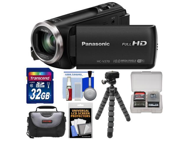 Panasonic HC-V270 HD Wi-Fi Video Camera Camcorder with 32GB Card + Case + Flex Tripod + Accessory Kit