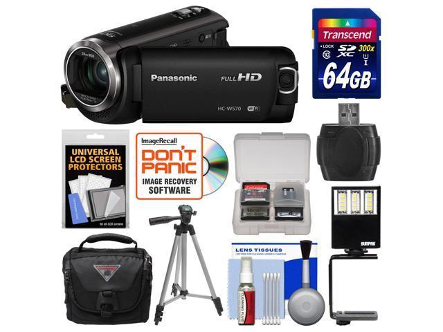Panasonic HC-W570 Twin Recording HD Wi-Fi Video Camera Camcorder with 64GB Card + Case + LED Light & Bracket + Tripod + Kit