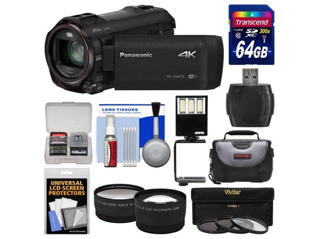 Panasonic HC-VX870 4K Ultra HD Wi-Fi Video Camera Camcorder with 64GB Card + Case + LED Light & Bracket + 3 Filters + Tele/Wide Lens ...
