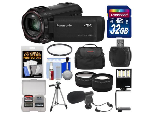 Panasonic HC-VX870 4K Ultra HD Wi-Fi Video Camera Camcorder with 32GB Card + Case + LED Light + Microphone + Tripod + Filter + Tele/Wide ...