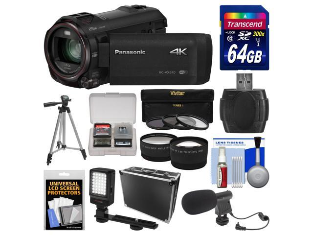 Panasonic HC-VX870 4K Ultra HD Wi-Fi Video Camera Camcorder with 64GB Card + Hard Case + LED Light + Microphone + Tripod + Tele/Wide Lens ...