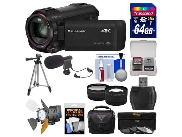 Panasonic HC-VX870 4K Ultra HD Wi-Fi Video Camera Camcorder with 64GB Card + Case + LED Light + Microphone + Tripod + Filters + Tele/Wide ...