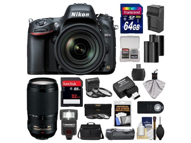 Nikon D610 Digital SLR Camera with 24-85mm & 70-300mm VR Lenses, WU-1b, Bag & 32GB Card with 64GB Card + Flash + Grip + 2 ...