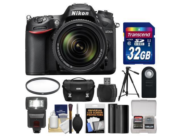 Nikon D7200 Wi-Fi Digital SLR Camera & 18-140mm VR DX Lens with 32GB Card + Case + Flash + Battery + Tripod + Filter + ...