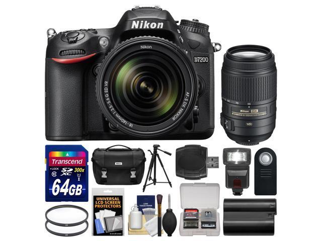 Nikon D7200 Wi-Fi Digital SLR Camera & 18-140mm VR DX Lens with 55-300mm VR Lens + 64GB Card + Case + Flash + Battery + ...