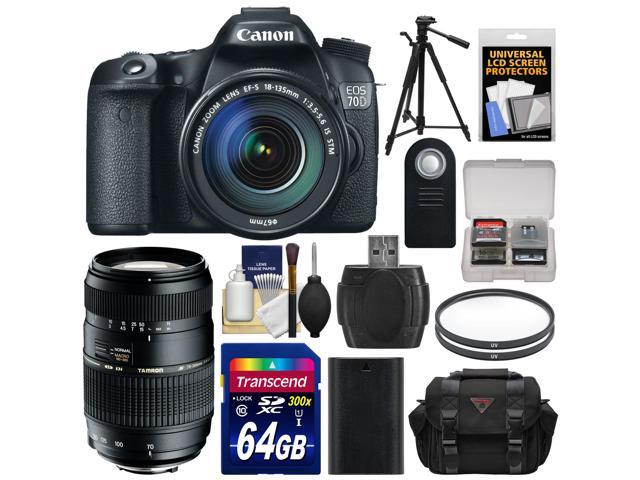 Canon EOS 70D Digital SLR Camera & EF-S 18-135mm IS STM Lens with Tamron 70-300mm Di Lens + 64GB Card + Battery + Case + ...