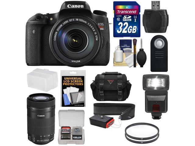 Canon EOS Rebel T6s Wi-Fi Digital SLR Camera & EF-S 18-135mm IS STM Lens with 55-250mm IS STM Lens + 32GB Card + Case + ...