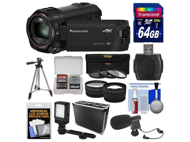 Panasonic HC-WX970 4K Ultra HD Wi-Fi Video Camera Camcorder with 64GB Card + Case + LED Light + Microphone + Tripod + Filters + Tele/Wide ...